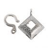 SS.925 Hook & Eye Square Dome Hammered 12mm